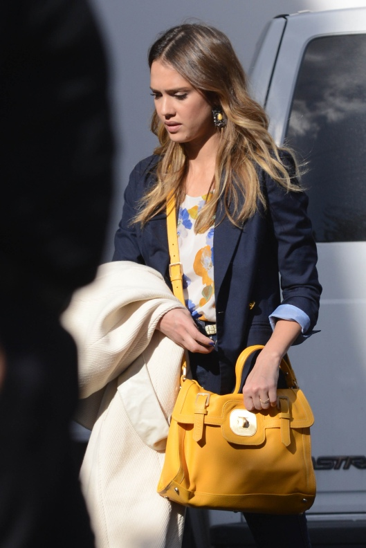 Jessica Alba drops by Hollywood studio in an all-denim outfit and a bright yellow purse