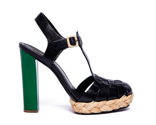 TB Abella 125mm Sandal in Tory Navy and Derby Green Heel