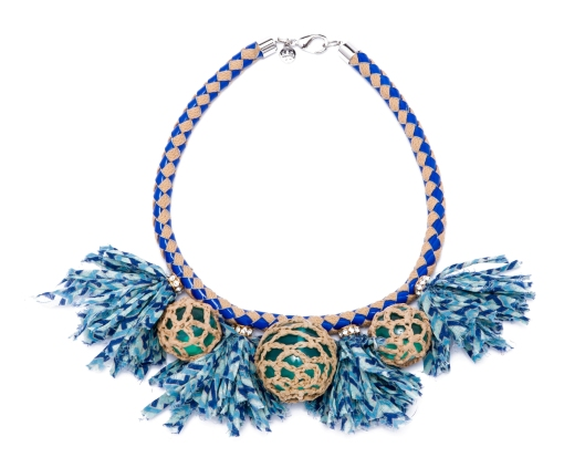 TB Crochet Bead and Tassel Necklace in Blue and Natural