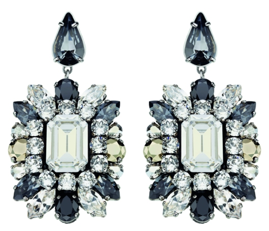 Swarovski by Shourouk Pierced Earrings black